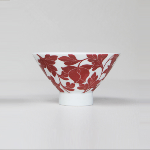 Heritage White Red full pattern Tea Bowl